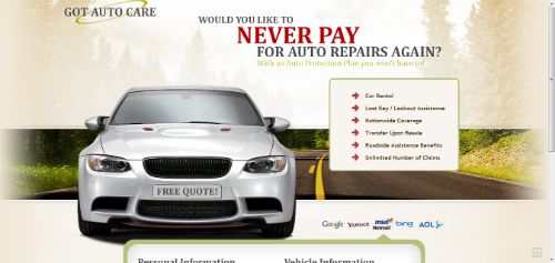 auto care landing page