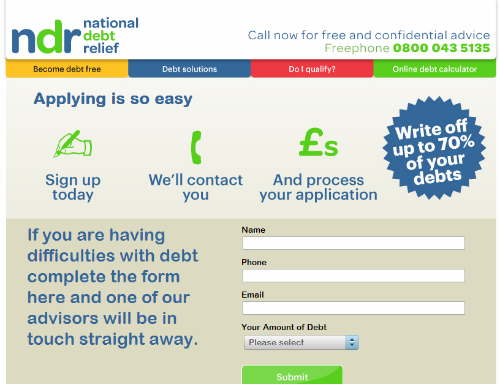 UK debt relief landing page