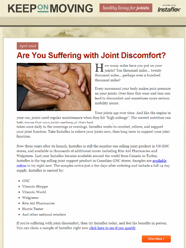joint pain presell